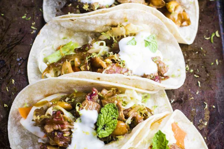 Pork Tacos with Goat Cheese Crema