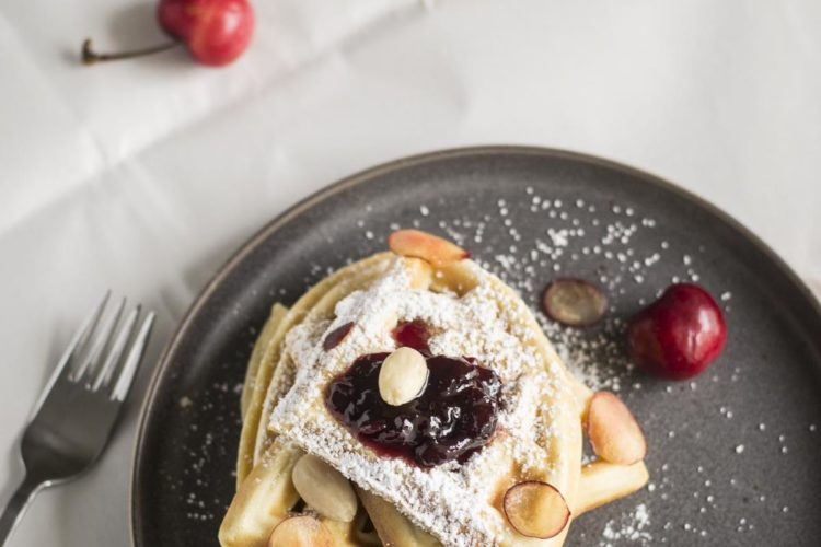 Easy Breakfast Waffles with Cherry Marmalade