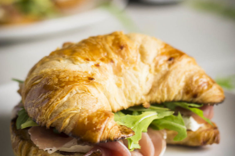 Breakfast Croissant Sandwiches on plate